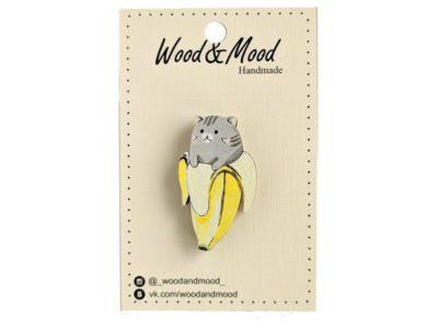 Значок ручной работы Котик в банане