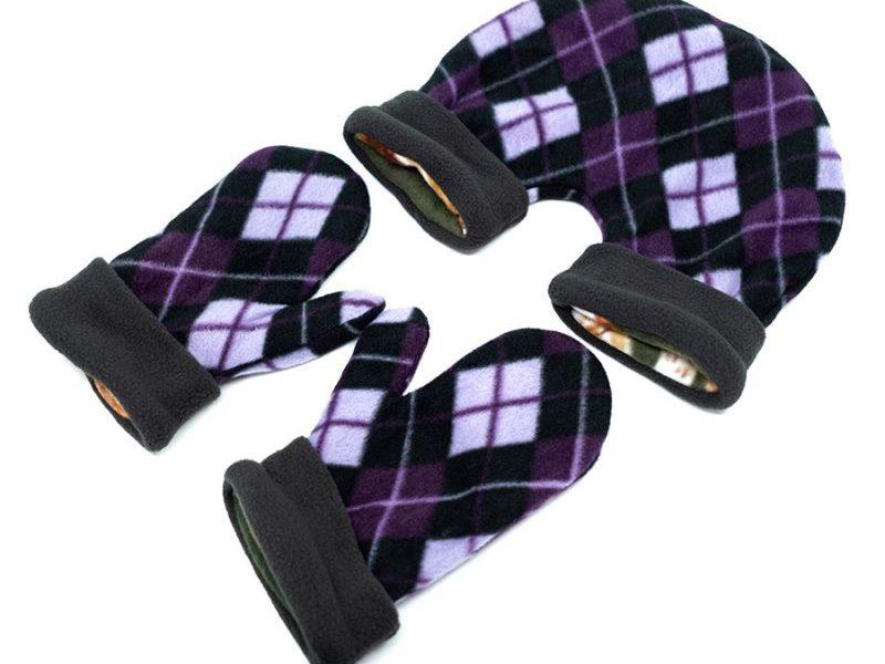 Парные варежки для влюбленных Фиолет