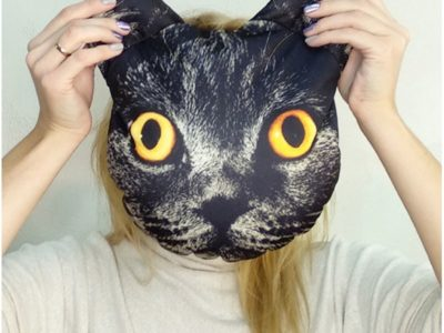Подушка-антистресс Мордашка Черный котик