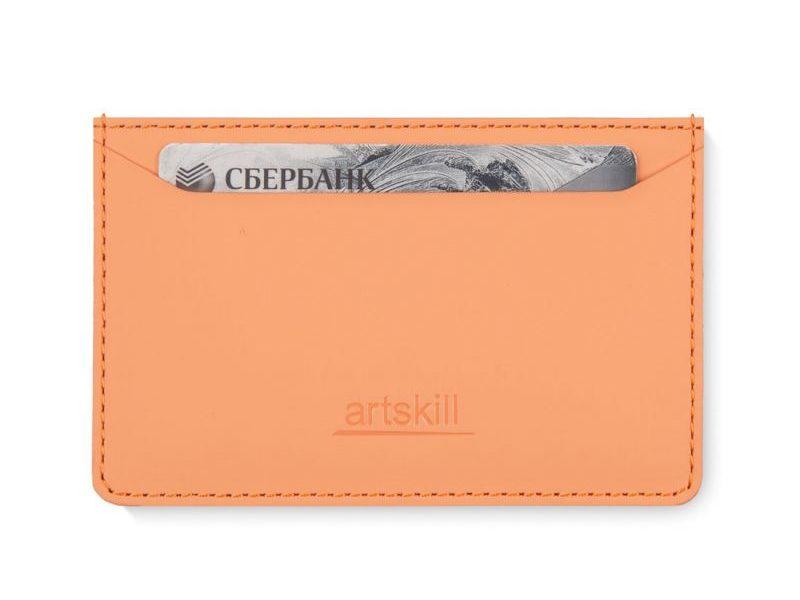Artskilltouch ультратонкий кожаный картхолдер персиковый
