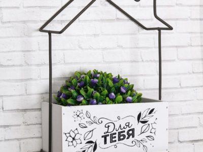 Декоративная полка-ящик Цветы