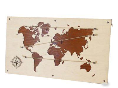 Деревянное фотопанно Карта Мира