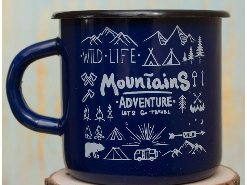 Эмалированная кружка Mountains blue