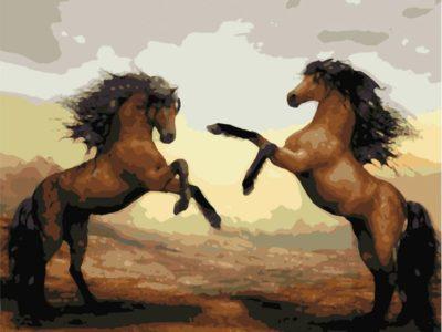 Картина по номерам Лошадки резвятся
