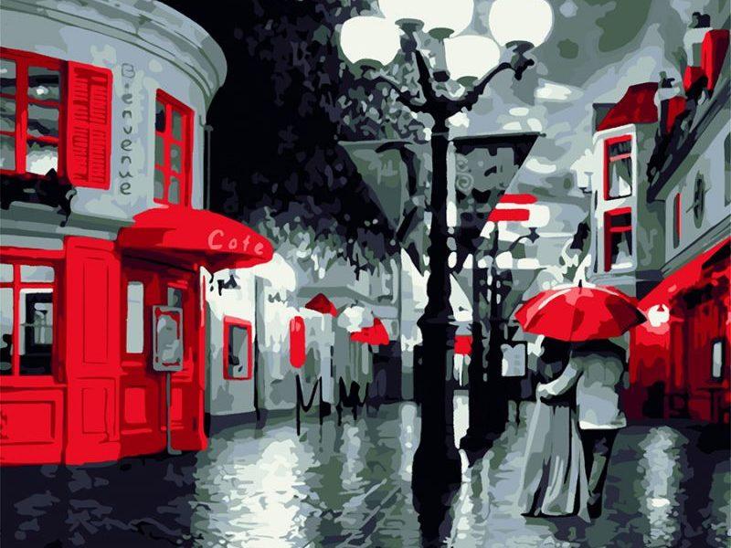Картина по номерам Улица Фонарь Кафе