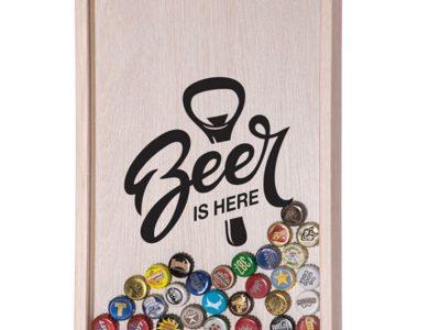 Копилка для пивных крышек Beer is here светлое дерево