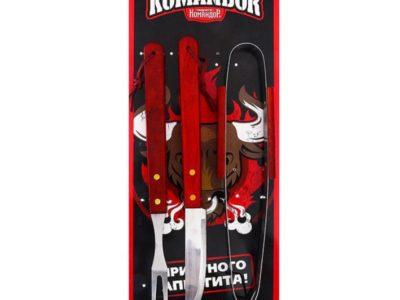 Набор для барбекю Komandor нож щипцы вилка