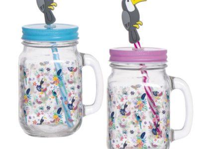 Набор стаканов с крышкой и трубочкой Tropical