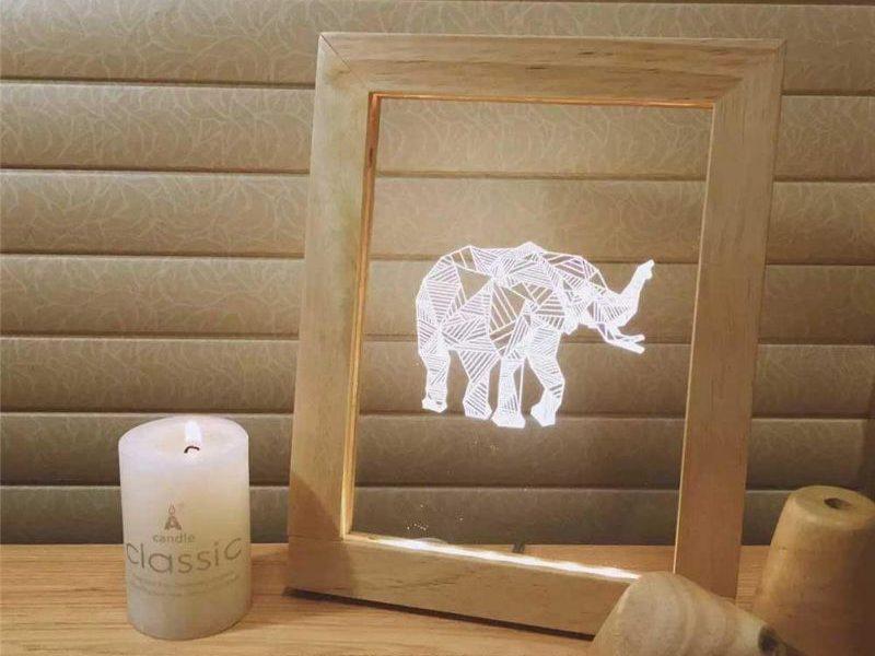 3D светильник в рамке Слон