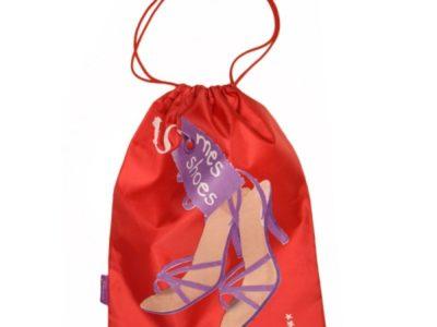 Большой мешочек для обуви в поездку красный Mes Shoes