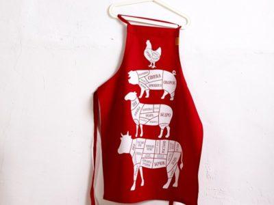 Кухонный фартук The Butcher Cuts красный