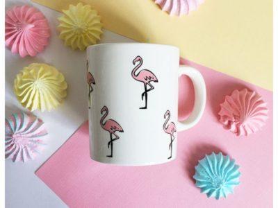 Фарфоровая кружка Розовый фламинго
