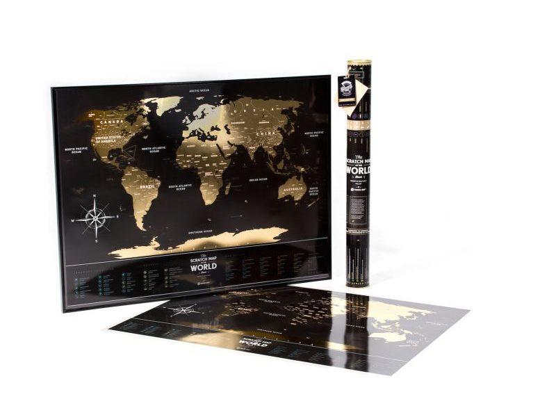 Пластиковая Скретч Карта Мира Black Premium edition