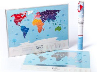 Пластиковая Скретч Карта Мира Silver Premium edition