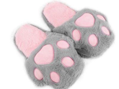 Тапочки Кошачья лапка серый с розовым