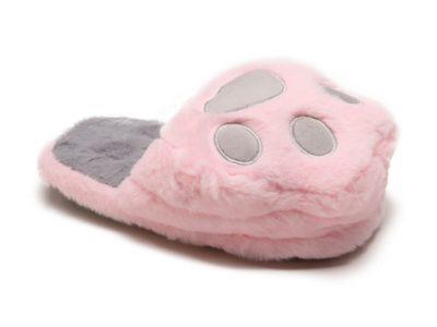 Тапочки Кошачья лапка розовый с серым