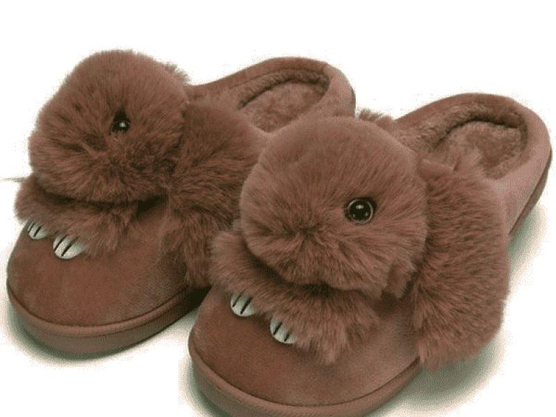 Тапочки Пушистый кролик коричневый