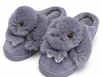 Тапочки Пушистый Кролик серый