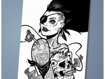 Обложка на паспорт Punk chick girl