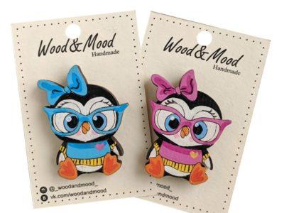 Значок ручной работы Пингвин в очках